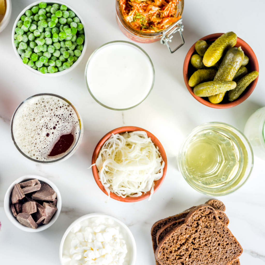 Different food types showing everything about probiotics